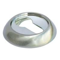 Накладка круглая под евроцилиндр Morelli MK-KH SN/CP комбинация белого никеля и хрома